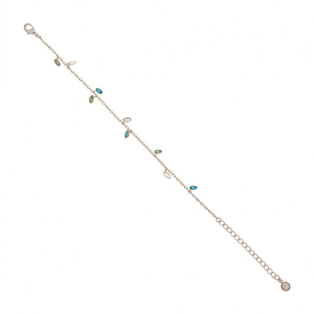 Womens Gold/Green Cresara Crystal Vine Bracelet
