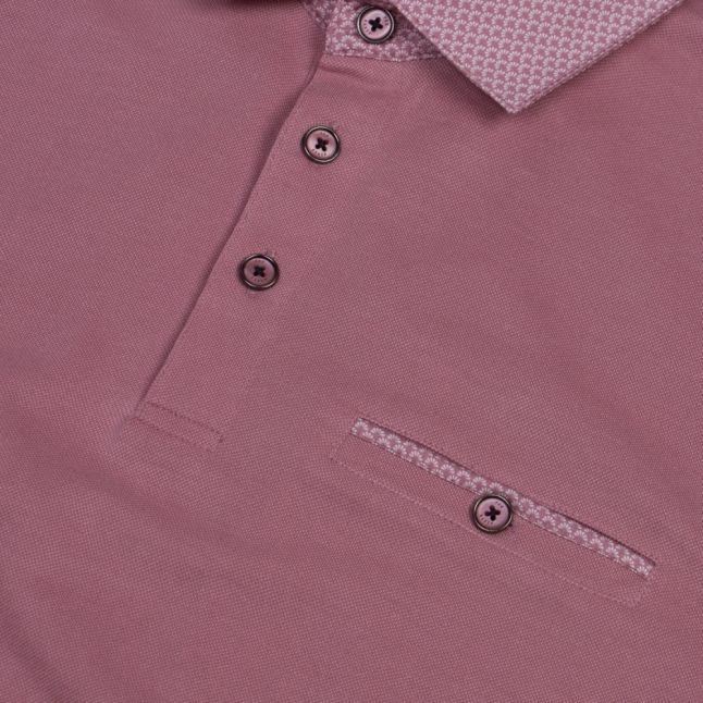 Mens Pink Aslam Woven Collar S/s Polo Shirt
