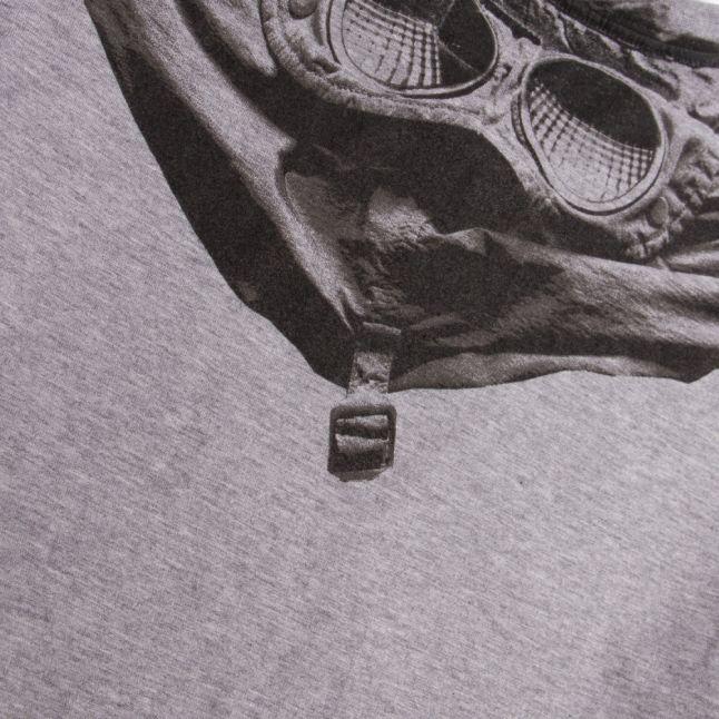 Boys Grey Melange Goggle Back Print S/s T Shirt