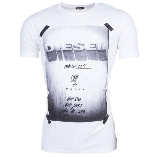 Mens White T-Diego-Hn S/s Tee Shirt
