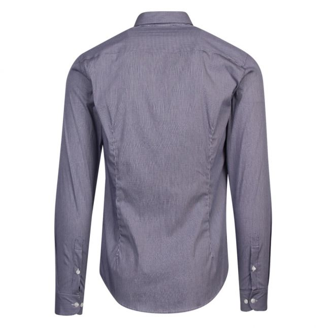 Mens Blue Fine Check L/s Shirt