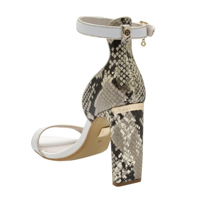 Womens White/Gold Maina Snake Heels