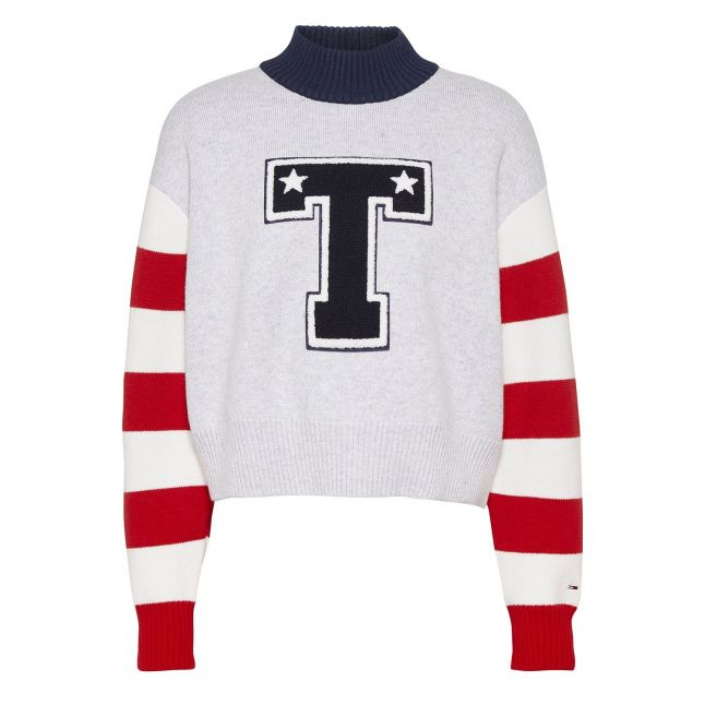Tommy Jeans Womens Silver Grey Varsity Knitted Sweater