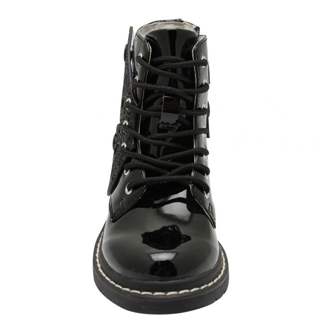 Girls Black Patent Fairy Wings Boots (26-37)