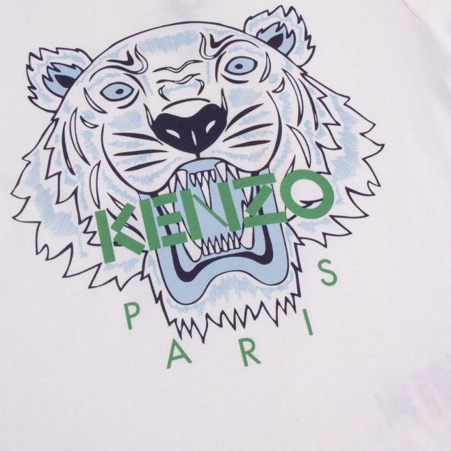 Kenzo Boys White/Blue Tiger S/s T Shirt
