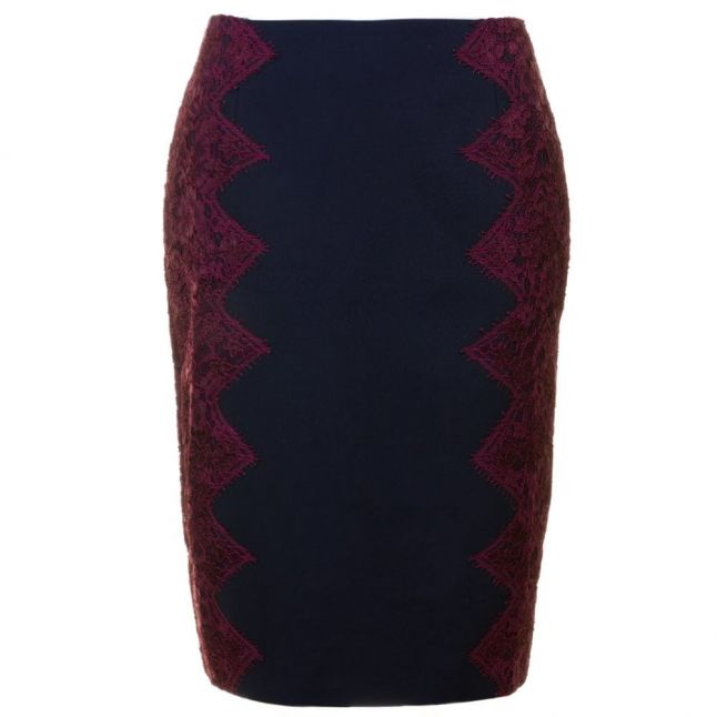 Womens Navy Queeny Scallop Lace Edge Pencil Skirt