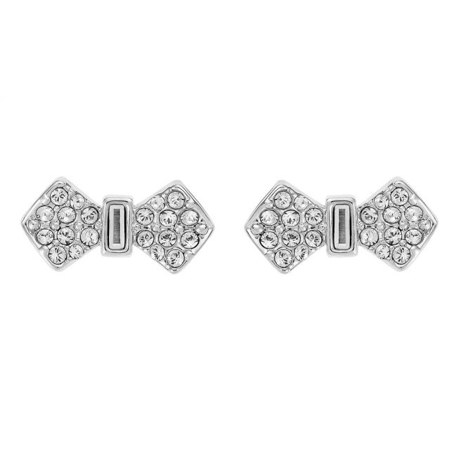 Womens Silver/Crystal Sersi Solitaire Pave Earrings