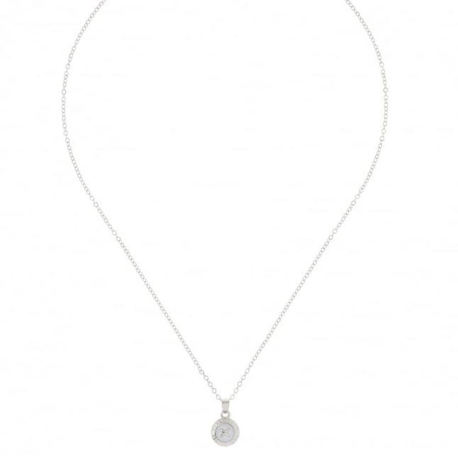 Womens Silver & White Elvina Pendant Necklace
