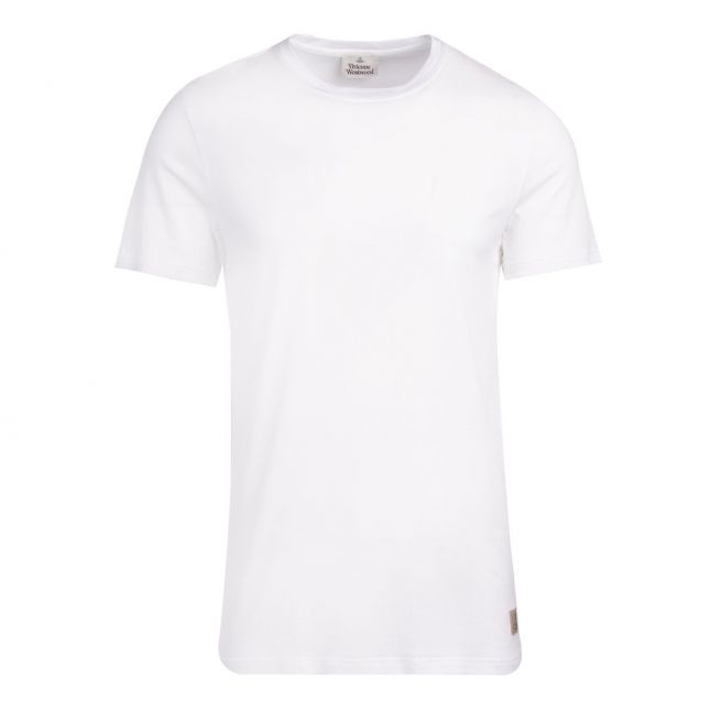 Mens White Branded Tab S/s T Shirt