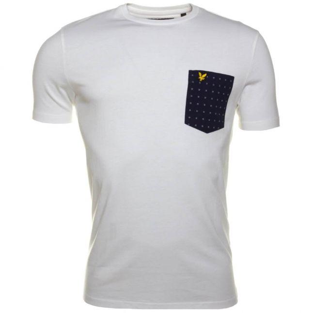 Mens White Square Dot Pocket S/s Tee Shirt