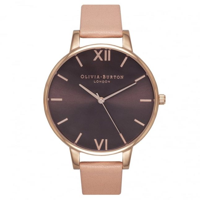 Womens Dusty Pink & Rose Gold Big Dial Watch