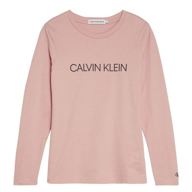 Girls Soothing Pink Branded L/s T Shirt