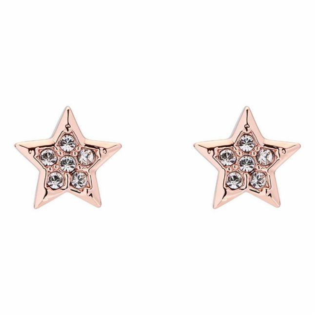 Womens Rose Gold/Crystal Safire Star Earrings
