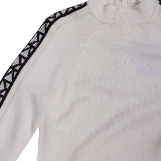 Womens White Logo Trim Knitted Jumper