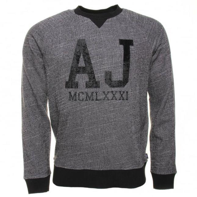 Mens Grey AJ Chest Logo Crew Sweat Top