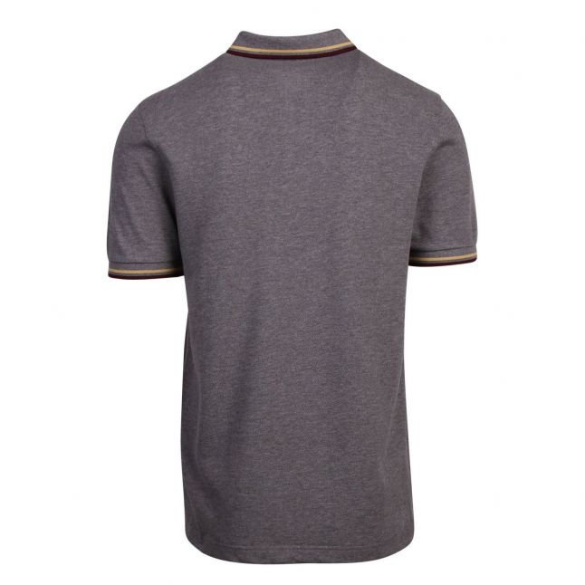 Mens Grey Marl Twin Tipped S/s Polo Shirt