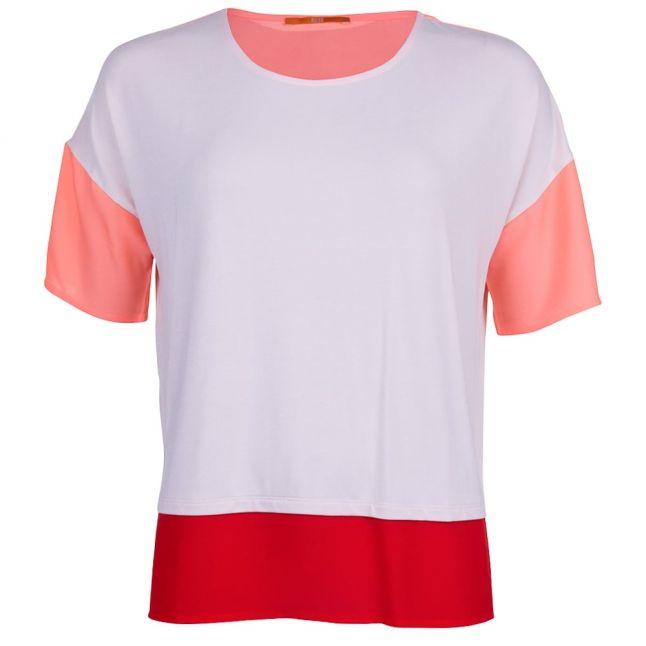 Boss Orange Womens Light Pastel Pink Tustripe Tee Shirt