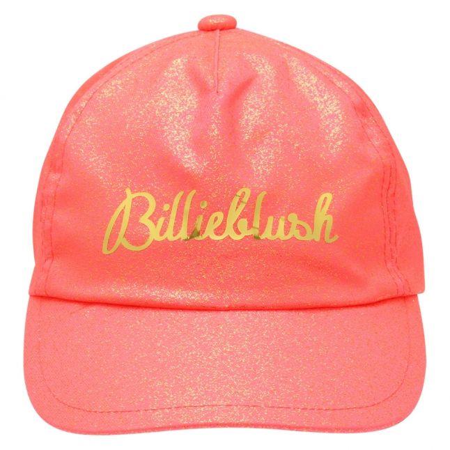 Girls Fuschia Branded Glitter Cap