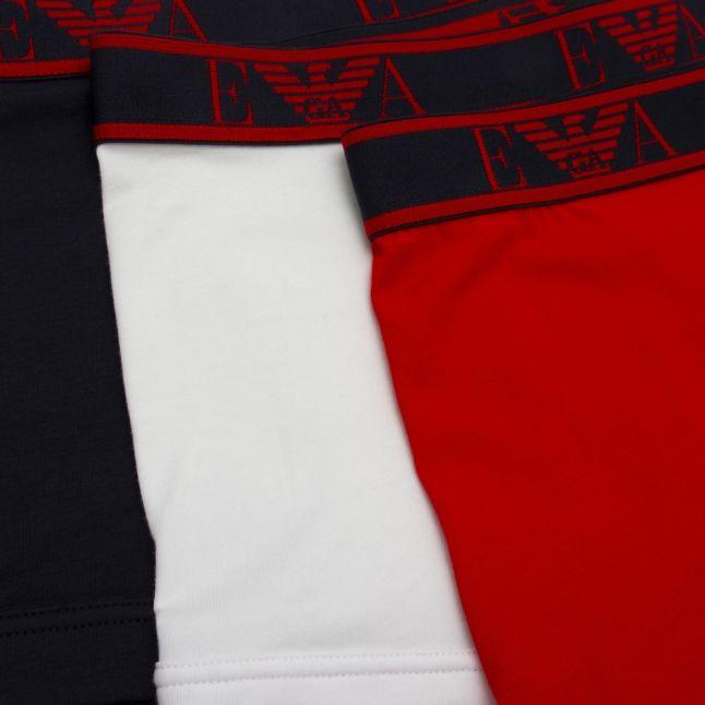 Mens Marine/Red/White 3 Pack Trunks