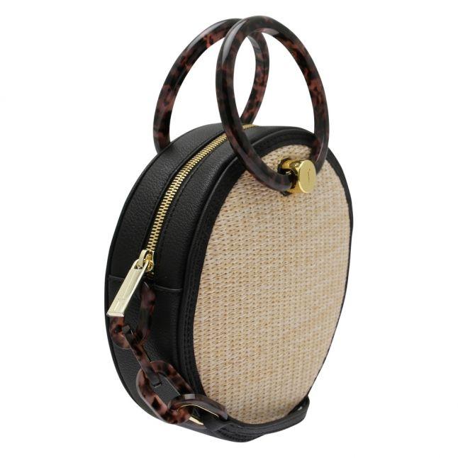 Womens Black Agneti Straw Circle Crossbody Bag