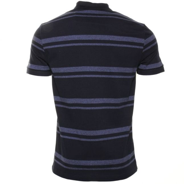 Mens Navy Striped Regular Fit S/s Polo Shirt