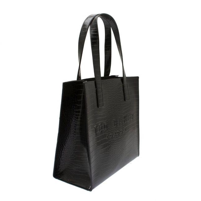 Womens Black Reptcon Croc Small Icon Bag