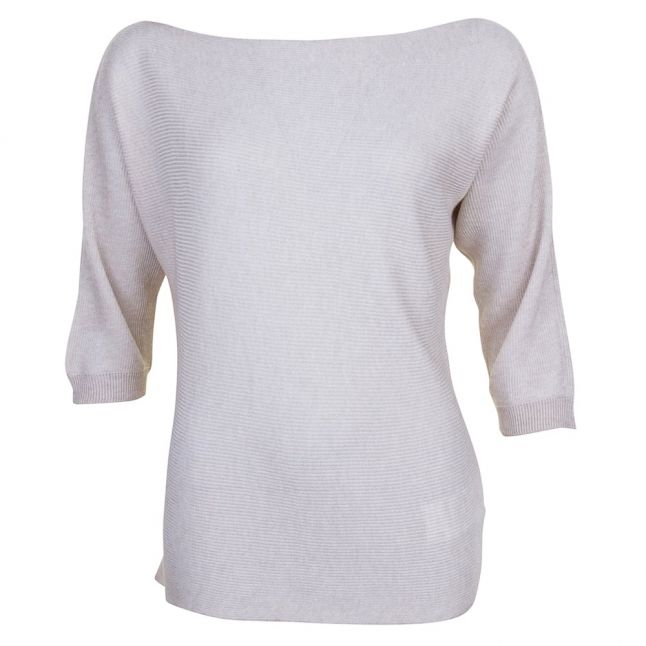 Womens Beige Ribbed Knitted Jumper