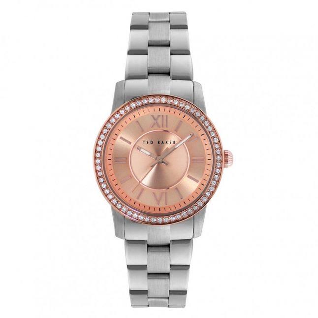 Womens Rose Gold Dial Silver Bracelet Strap Watch