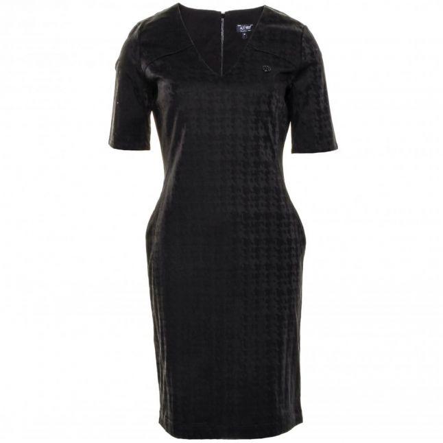 Womens Black Jacquard Shimmer Dress