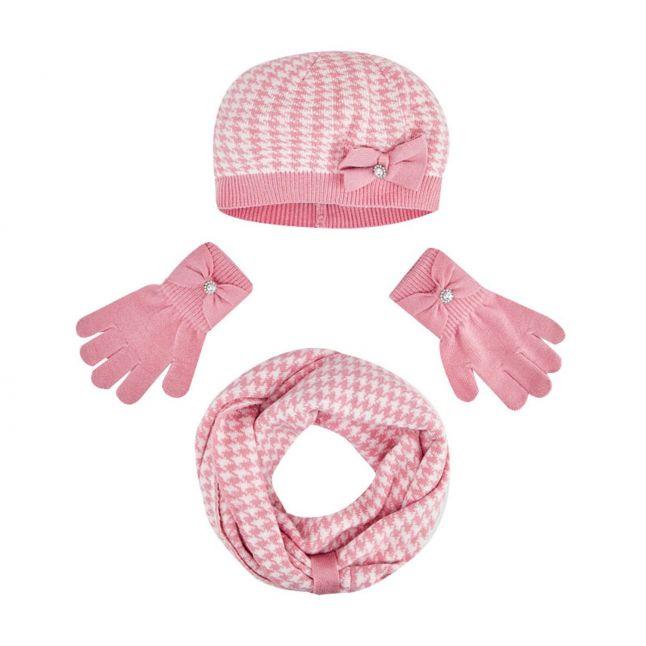 Mayoral Girls Blush Print Hat, Scarf + Gloves Set