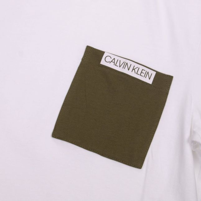 Calvin Klein Mens Bright White Contrast Pocket S/s T Shirt