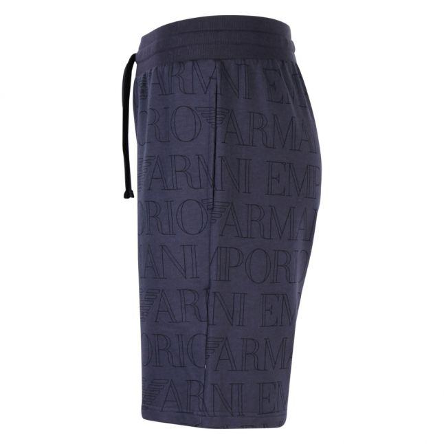 Mens Navy Logo Printed Sweat Shorts