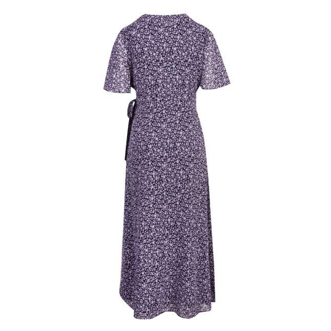 Womens Navy Vioela Orchid Petal Wrap Midi Dress