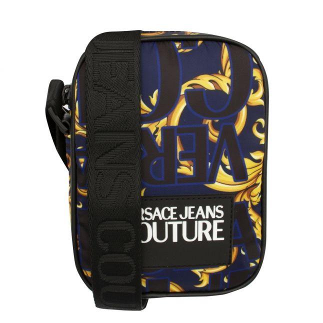 Mens Dark Blue Baroque Logo Crossbody Bag