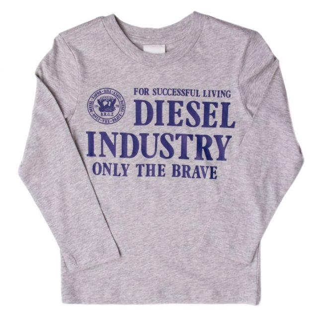Boys New Grey Melange Branded L/s Tee Shirt