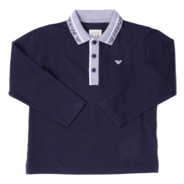 Baby Navy Logo Collar L/s Polo Shirt