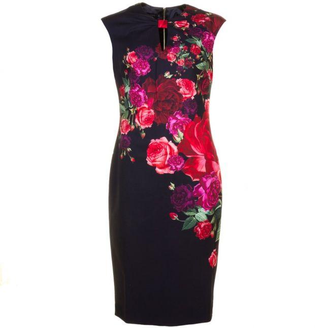 Womens Black Mirrie Juxtapose Rose Printed Knot Dress