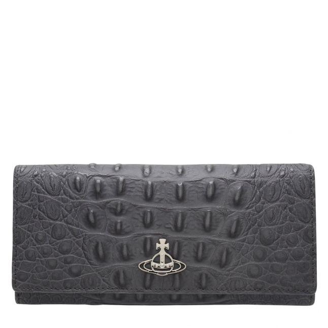 Womens Grey Croc Sofia Leather Long Card Purse