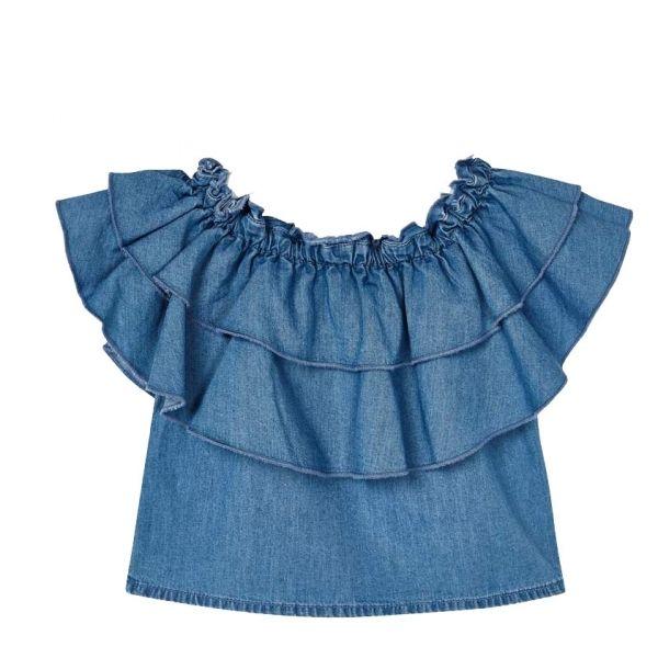 Girls Light Blue Frill Denim Top
