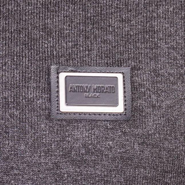 Mens Dark Grey Melange Black Label Badge Jumper