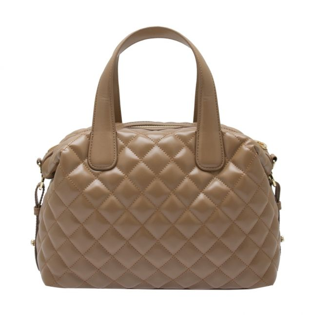 Womens Camel Quilted Bowler Bag