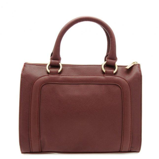 Womens Bordeaux Faux Saffiano Shopper Bag