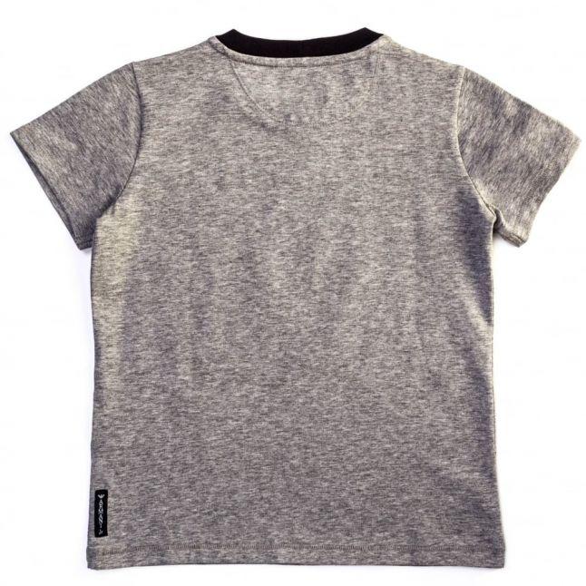 Boys Grey Melange Diamond Print Logo S/s Tee Shirt