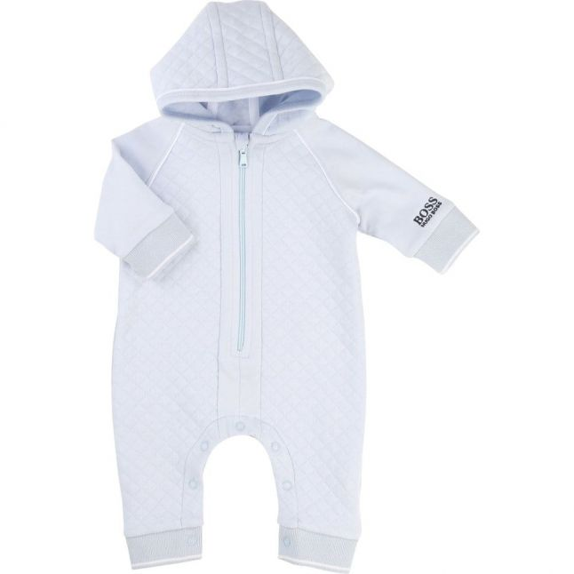 Baby Blue Quilted Hooded Romper