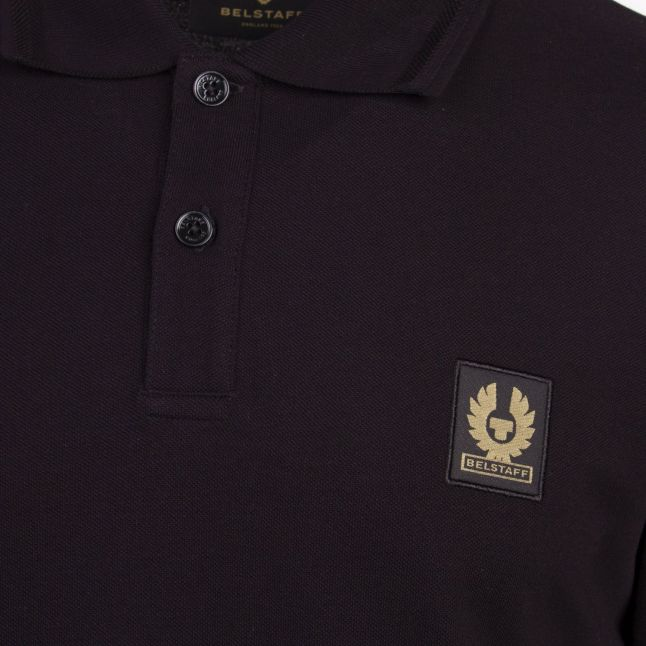 Mens Black Branded L/s Polo Shirt
