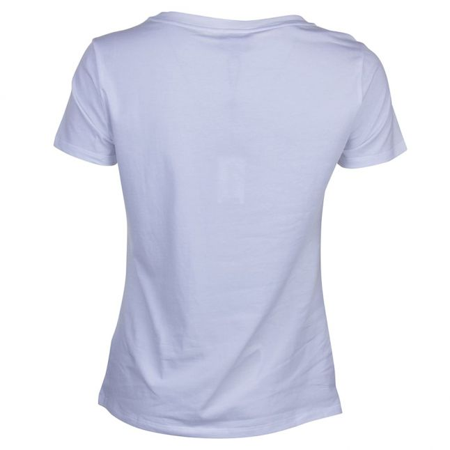 Womens White Sequin Square S/s Tee Shirt