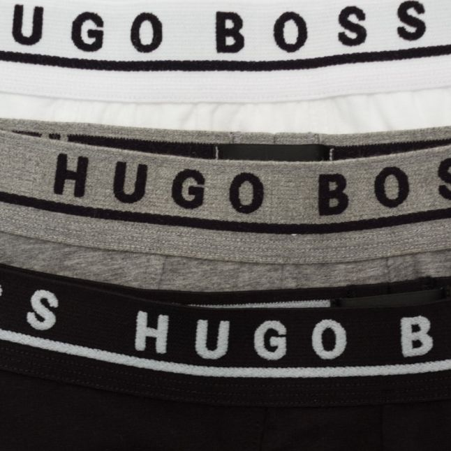 Mens Black, White & Grey Cyclist 3 Pack Boxers