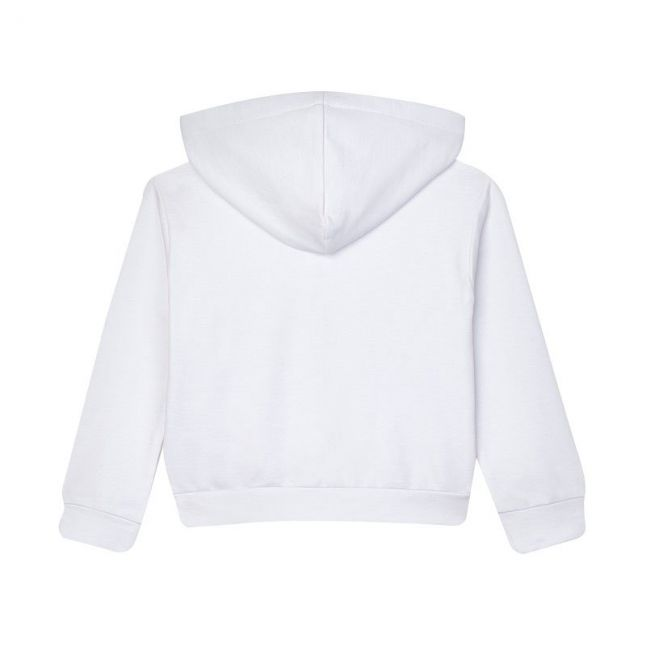 Girls White Diamante Hooded Sweat Top