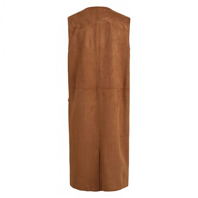 Womens Oak Brown Vighita Suede Long Waistcoat