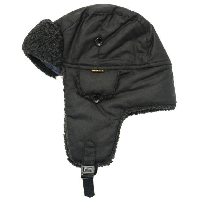 Mens Black Fleece Lined Waxed Trapper Hat